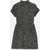 AX Paris Black Abstract Spot Frill High Neck Dress New Look