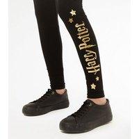 Girls Black Harry Potter Logo Leggings New Look