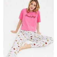 Pink Cheat Day Logo Jogger Pyjama Set New Look