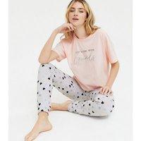 Pink Heart Goals Logo Jogger Pyjama Set New Look