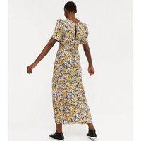 Tall Black Floral Tie Back Puff Sleeve Maxi Dress New Look