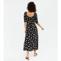 Tall Black Floral Sweetheart Midi Dress New Look
