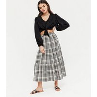 White Check Tiered Midi Skirt New Look