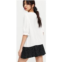 Off White V Neck Puff Sleeve Button Blouse New Look