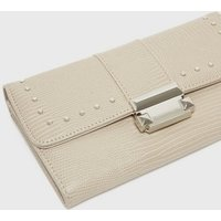 Grey Faux Snake Studded Purse New Look