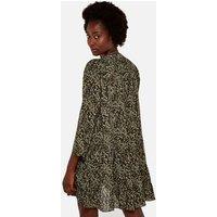Apricot Green Leopard Print Tiered Dress New Look