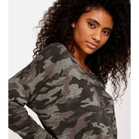 Apricot Green Camo Fine Knit Top New Look