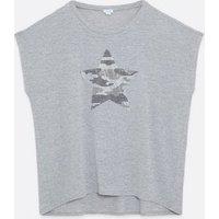 Blue Vanilla Curves Pale Grey Diamanté Star T-Shirt New Look