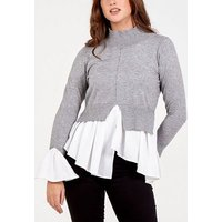 Blue Vanilla Grey High Neck 2 in 1 Poplin Knit Top New Look