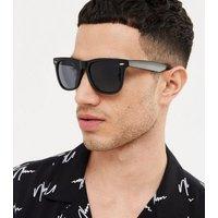Men's Black Matte Square Frame Sunglasses New Look