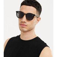 Men's Black Slim Frame Round Sunglasses New Look
