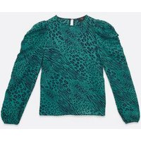 AX Paris Teal Leopard Print Blouse New Look