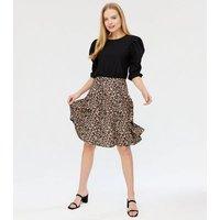 Missfiga Brown Leopard Print Puff Sleeve Skater Dress New Look
