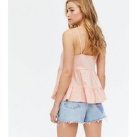 Coral Tiered Peplum Cami New Look