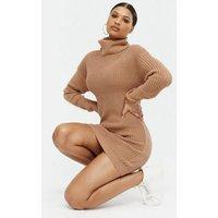 AX Paris Camel Roll Neck Jumper Dress New Look