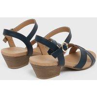 Wide Fit Navy Cuban Heel Cross Strap Sandals New Look