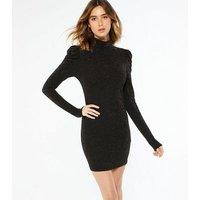 Pink Vanilla Black Glitter Puff Sleeve Mini Dress New Look