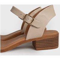 Cream 2 Part Low Block Heel Sandals New Look