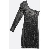 Pink Vanilla Silver Sequin One Shoulder Dress New Look