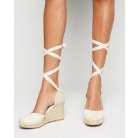 Wide Fit Off White Canvas Woven Ankle Tie Espadrille Wedges New Look Vegan