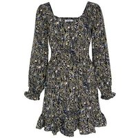 Gini London Black Floral Scribble Frill Dress New Look