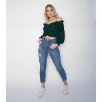 JUSTYOUROUTFIT Dark Green Bardot Top New Look