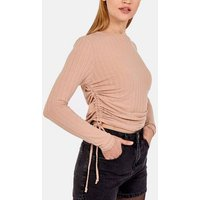 Pink Vanilla Stone Ribbed Tie Side Ruched Top New Look