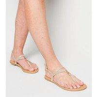 Gold Glitter Metal Ring Sandals New Look Vegan