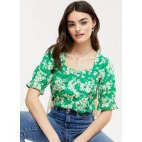Green Floral Square Neck Blouse New Look