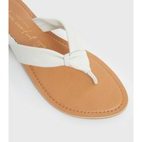 White Leather Knot Flip Flops New Look