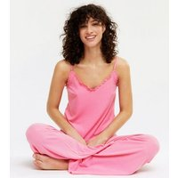 Bright Pink Ribbed Frill Wide Leg Trouser Pyjama Set New Look