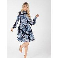Zibi London Blue Floral Belted High Neck Dress New Look