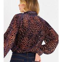 ZIbi-London-Blue-Leopard-Print-Velvet-Blouse-New-Look