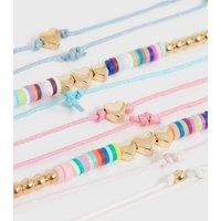 Girls 5 Pack Multicoloured Rainbow Beaded Bracelets New Look