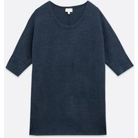 Apricot Navy Knit Oversized Top New Look
