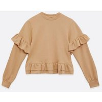 Influence Stone Frill Peplum Sweatshirt New Look