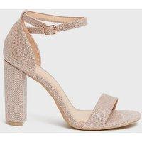 Wide Fit Rose Gold Glitter 2 Part Block Heel Sandals New Look Vegan