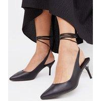 Black Ankle Tie Stiletto Heel Court Shoes New Look Vegan