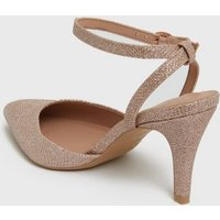 Wide Fit Rose Gold Glitter Pointed Court Shoes New Look