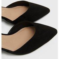 Wide Fit Black Suedette Block Heel Court Shoes New Look