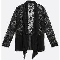 Mela Curves Black Lace Waterfall Jacket New Look