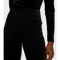 Tall Black Velvet Flared Trousers New Look