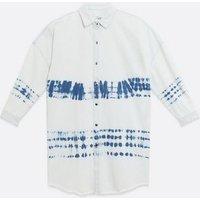 Blue Tie Dye Denim Long Shirt New Look