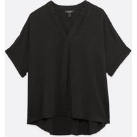 Curves Black Overhead Short Sleeve Shirt New Look