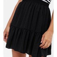 Black Herringbone Peplum Skirt New Look