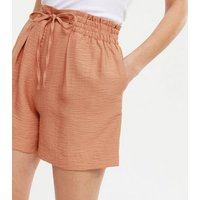 Tan Tie Front Shorts New Look