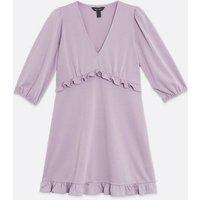 Lilac Frill Trim Mini Dress New Look