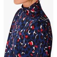 Zibi London Navy Satin Leopard Print Blouse New Look
