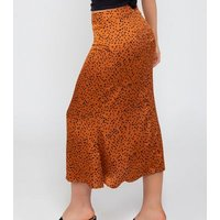 Zibi London Rust Spot Midi Skirt New Look