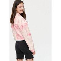 Girls Pink Tie Dye Frayed Denim Jacket New Look